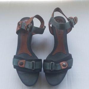 MARNI Leather and Nylon Wedge Sandals 37